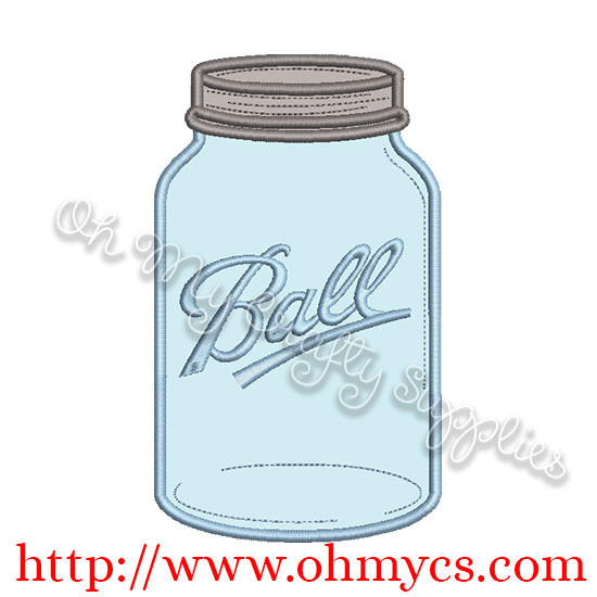 Single Canning Jar Applique Design