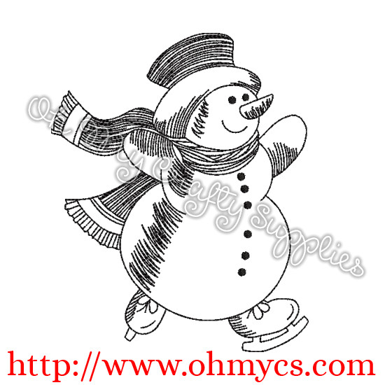 Sketch Skating Snowman Embroidery Design