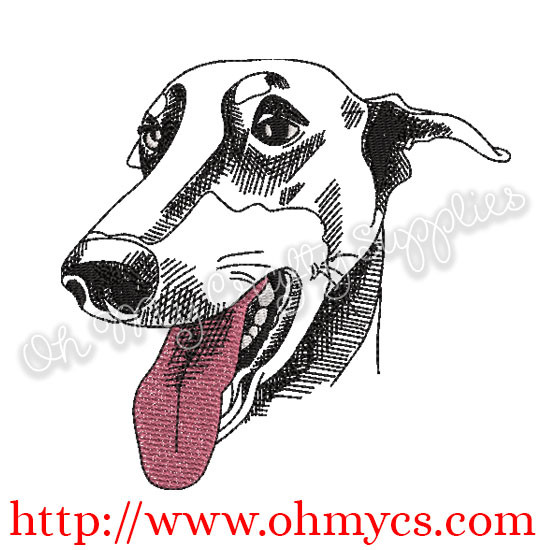 Sketch Greyhound Embroidery Design