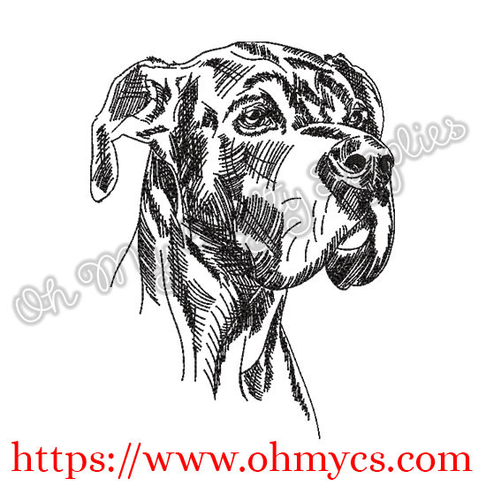 Sketch Great Dane Embroidery Design