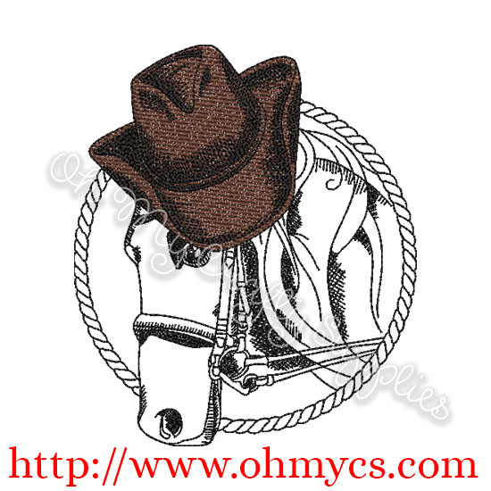 02f51281240 Sketch Horse with Cowboy Hat Embroidery Design