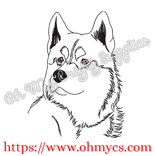 Sketch Husky Embroidery Design