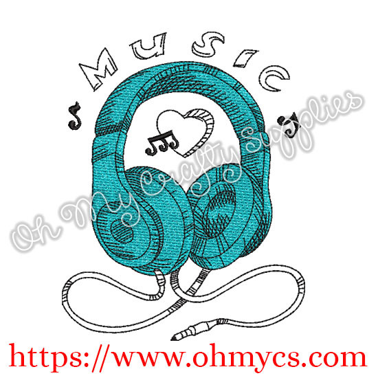 Sketch Music Headphones Embroidery Design