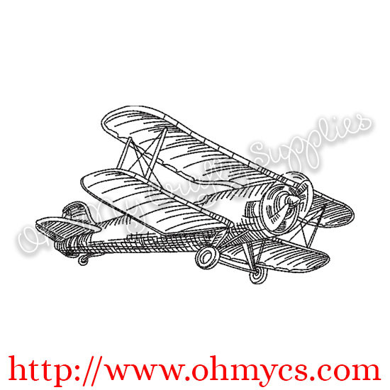 Sketch Plane Embroidery Design