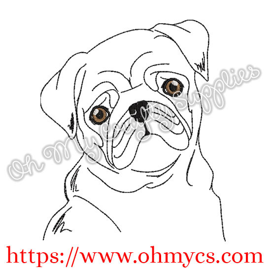 Sketch Puggy Pup Embroidery Design