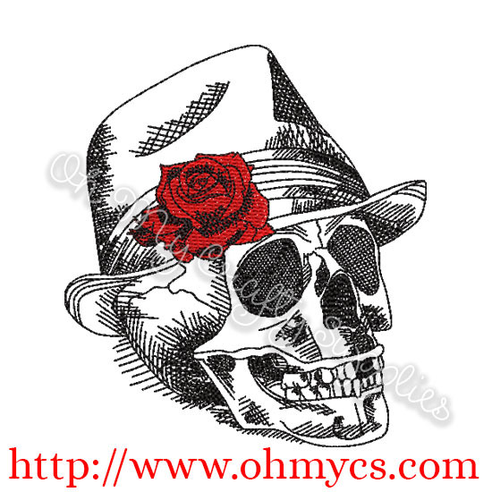 Sketch Skull Embroidery Design