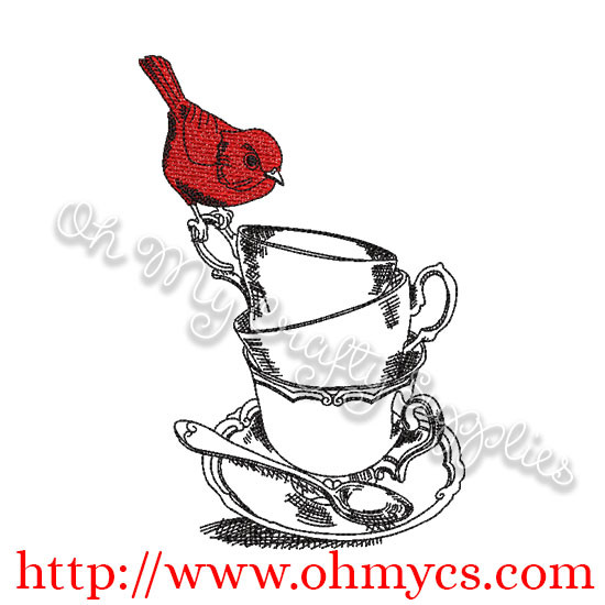 Sketch Tea Cups with Bird Embroidery Design