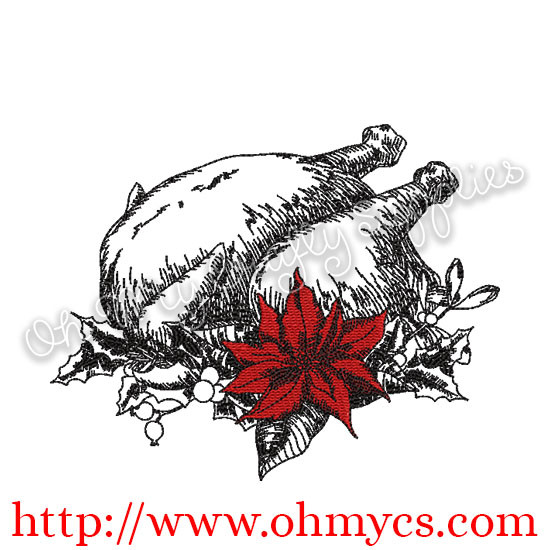Sketch Turkey Embroidery DEsign