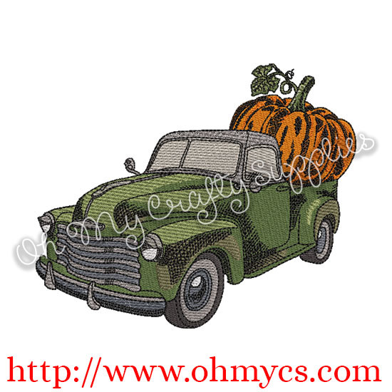 Solid Stitch Pumpkin Truck Embroidery Design