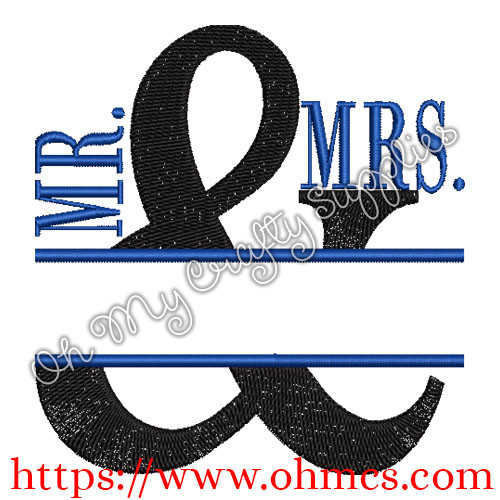 Split Mr. & Mrs. Embroidery Design