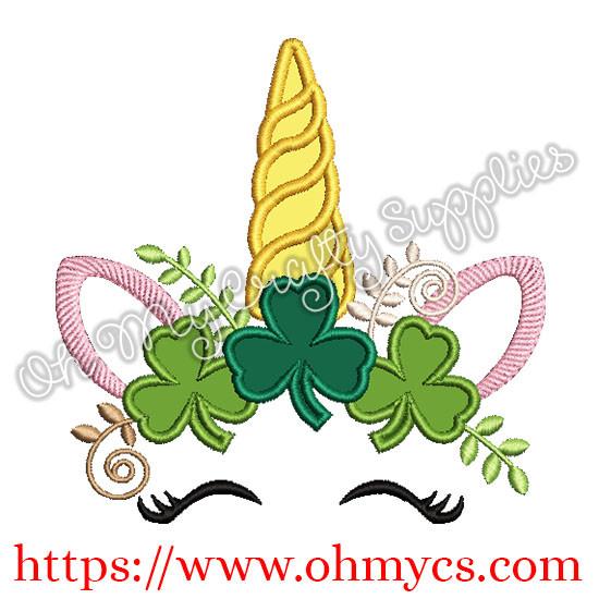 St. Patrick's Day Unicorn Applique Design