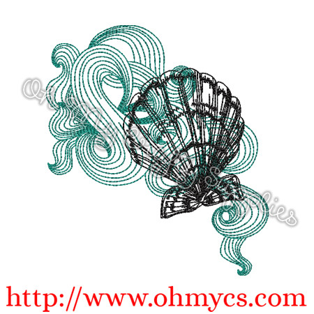 Swirly Sea Shells Sketch Embroidery Design