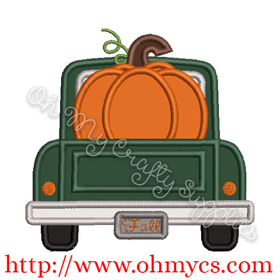 Tailgate Pumpkin Truck Applique Design