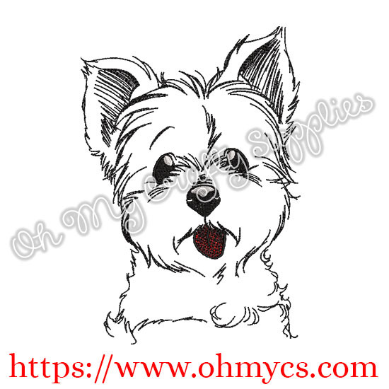 Terrier Pup Sketch Embroidery Design