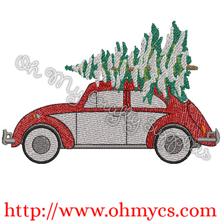 Christmas Tree Beetle Embroidery Design