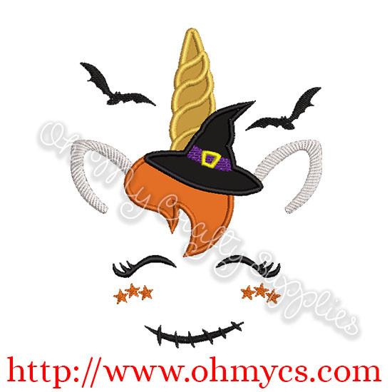 Unicorn Witch Applique Design