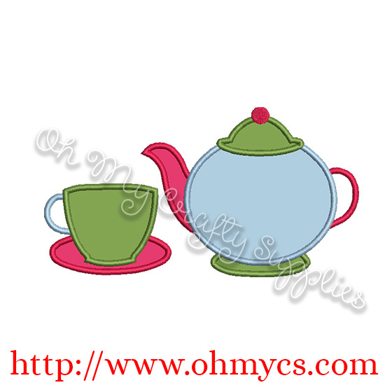 Tea Pot and Cup Applique Design