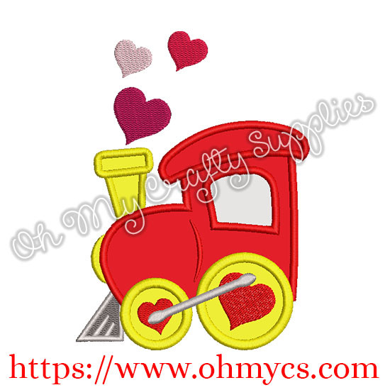 Valentine Heart Train Applique Design