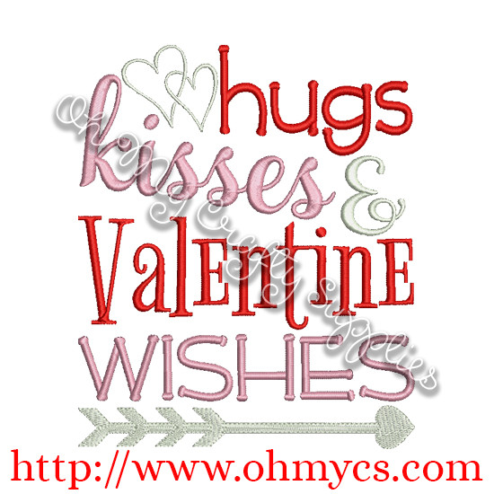 Valentine Wishes Embroidery Design