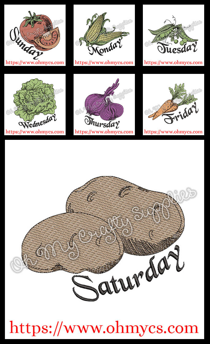 Day of the week Veggies sketch bundle Embroidery Design Bundle