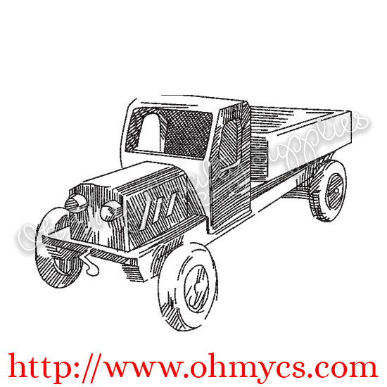 Sketch Vintage Toy Truck Embroidery Design
