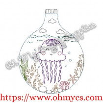Bottled Ocean Critter Embroidery Design