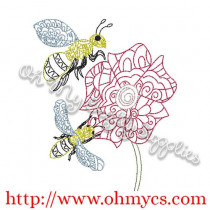 Henna Bees and Flower Embroidery Design
