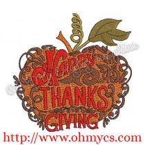Autumn Happy Thanksgiving Embroidery Design