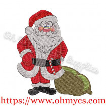 Santa Claus with Gift Bag Embroidery Design