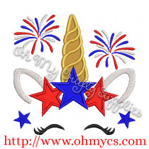 4th of July Unicorn Applique Design