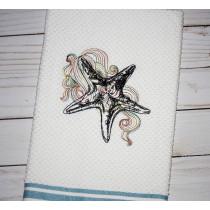 Swirly Starfish Sketch Embroidery Design