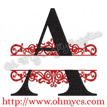A-Z Split Letter Embroidery Design Set