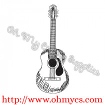 Acoustic Guitar Sketch Embroidery Design