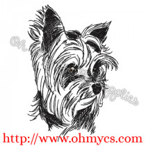 Adorable Yorkie Sketch Embroidery Design
