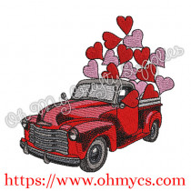 Another Heart Truck Embroidery Design
