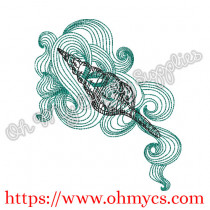 Another Swirly Shell Embroidery Design