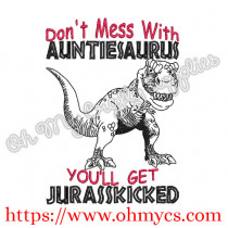 Auntiesaurus Embroidery Design