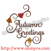 Autumn Greeting Embroidery Design