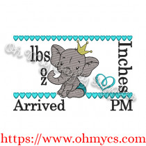 Baby Boy Elephant birth Announcement Embroidery Design