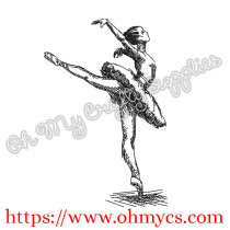 Ballerina Sketch Embroidery Design