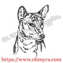 Basenji Sketch Embroidery Design
