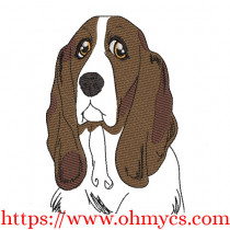 Bassett with Color Sketch Embroidery Design