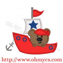 Bear in Boat Applique Design