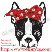 Sketch Boston Terrier with Headband Embroidery Design