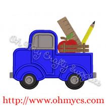 Back to School Vintage Truck Applique Design