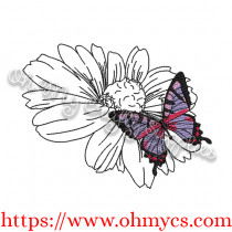 Butterfly Flower Sketch Embroidery Design
