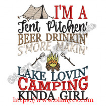 Camping Kinda Girl Embroidery Design