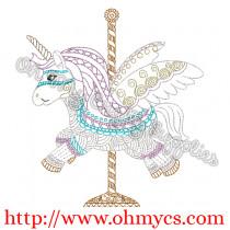 Carousal Unicorn Embroidery Design