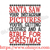 Clothes and a Bible for Christmas Embroidery Design