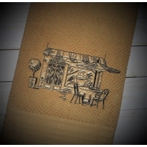 Coffee Shop Sketch Embroidery Design